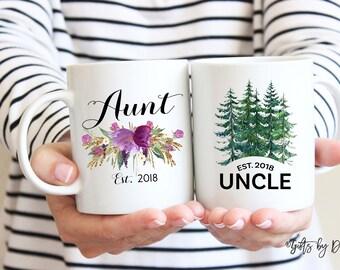 Aunt Uncle mug set coffee mug, Aunt gift, Uncle gift, Parents Reveal gift, established mug, baby announcement pregnancy mugs, Christmas gift