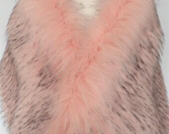 pink fur stole, pink fur shawl, faux fur wrap, fake fur shrug, bridal wrap, black fur