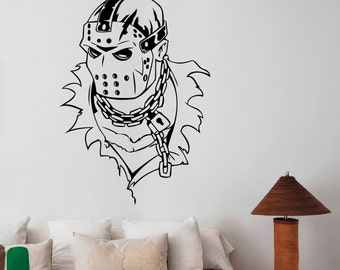 Jason Voorhees Decal Vinyl Sticker Friday the 13th Movie Wall Art Decorations for Home Housewares Office Bedroom Horror Decor jvh3