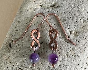 Women's earrings - Amethyst beaded - Copper - Metal Artisan Handmade Drop Dangle