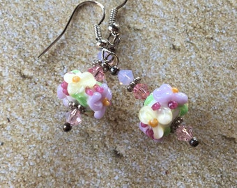 Flower Lampwork Earrings, Pastel Floral Earrings, Lavender and Yellow Flower Earrings, Lampwork Jewelry, Gift For Her