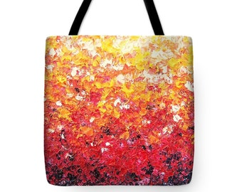Abstract Art Tote Bag, Expressionist Orange Market Bag, Sports Bag, Large Tote Bag, Reusable Grocery Bag, Colorful Handbag Purse, Boho Chic
