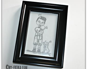 "Framed illustration: Little B collection ""Smorglub addict family"""