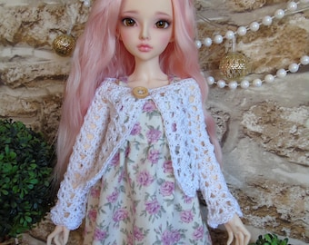 White Crochet Cardigan for Minifee Slim Msd BJD clothes outfit dolls