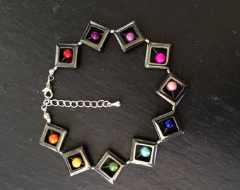 "9"" haematite and rainbow bead bracelet with 2 1/2 sterling silver extension chain"