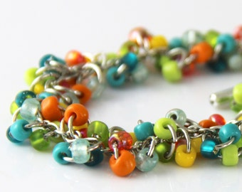 Tropical Cluster Bracelet - Colorful Teal Blue Turquoise Lime Green Orange Yellow Beaded Silver Bracelet  Multi Color Bracelet