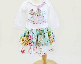 """Marie Antoinette Dress Sweet Pink """"Let Me Eat Cake"""" Custom Newborn to 3T Vintage Ruffles"""