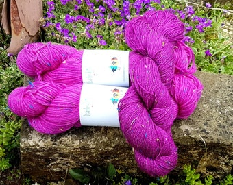 Hand dyed yarn, pink yarn, 4ply pink yarn, donegal yarn, DK yarn, donegal wool, knitting yarn, 4 ply yarn,  UK indie dyer