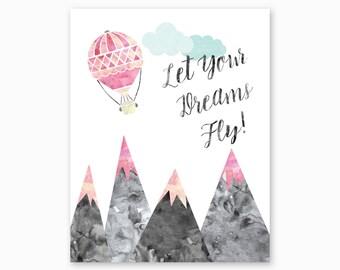 DREAMS NURSERY ART, Inspirational Nursery Quote, Mountain Nursery Printable, Adventure Nursery, Hot Air Balloon, Digital Download