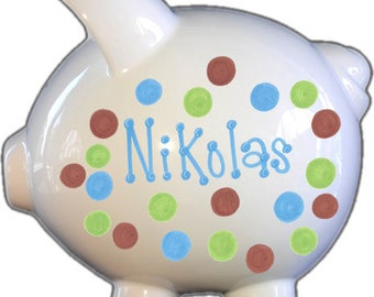 Personalized Piggy Bank with Blue Green Brown Dots | White | Large | Baby Gift | Free Shipping