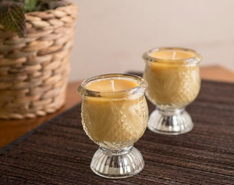 Set of 2 Glass Beeswax Candles, Beeswax Container Candle Set, Homemade Candles, 100% Pure Beeswax Candle, Container Candle Set