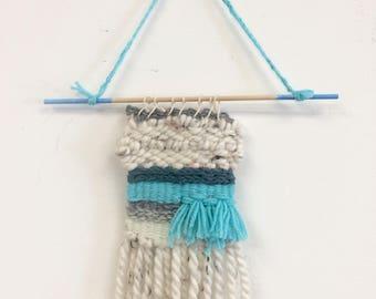 Bright Blue Weaving, Woven Wall Hanging, Small Wall Hanging,  Boho Wall Hanging, Weaving, Hippie Wall Art, Housewarming Gift, Home Decor