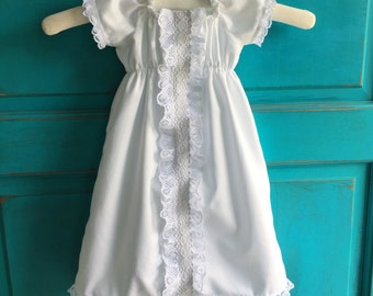 baby girl baptism DRESS, Hazel's Grace in pure white COTTON with lace, custom newborn to 12 months vintage inspired