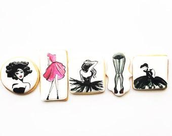 12 Fashion Inspired Cookies, Custom Cookies, Birthday Cookies, Fancy Cookies, Shoes, Decorated Cookies, Watercolor Cookies, Dresses