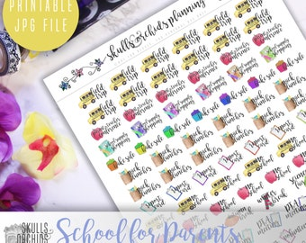 Functional Phrases for School (Parents) – PRINTABLE Planner Stickers for Erin Condren, Happy Planner, Personal-Sized Planners, etc