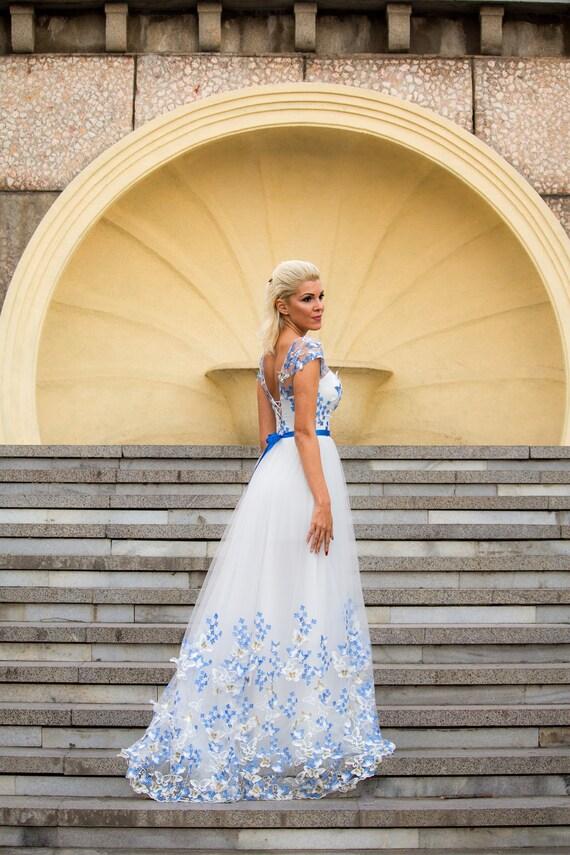 Weiß und blau Hochzeitskleid Hochzeitskleid Farbe mit