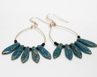 Earrings drops - bleupicasso and black - goldfilled