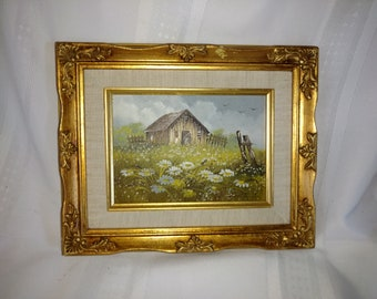 """Vintage Oil Painting """"Barn"""" by Smith"""