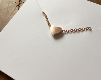 Heart Rose - necklace with a cute, little heart pendant. rosegoldtone, cute, steel, love, couple, sweet, romantic, rosegold