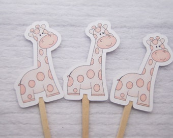 Baby Shower, Cupcake Toppers, Giraffe, Pink, Girl, Party Picks, Food Picks, Set of 12 - CT012