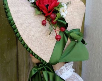 1830s Red Poppies Bonnet