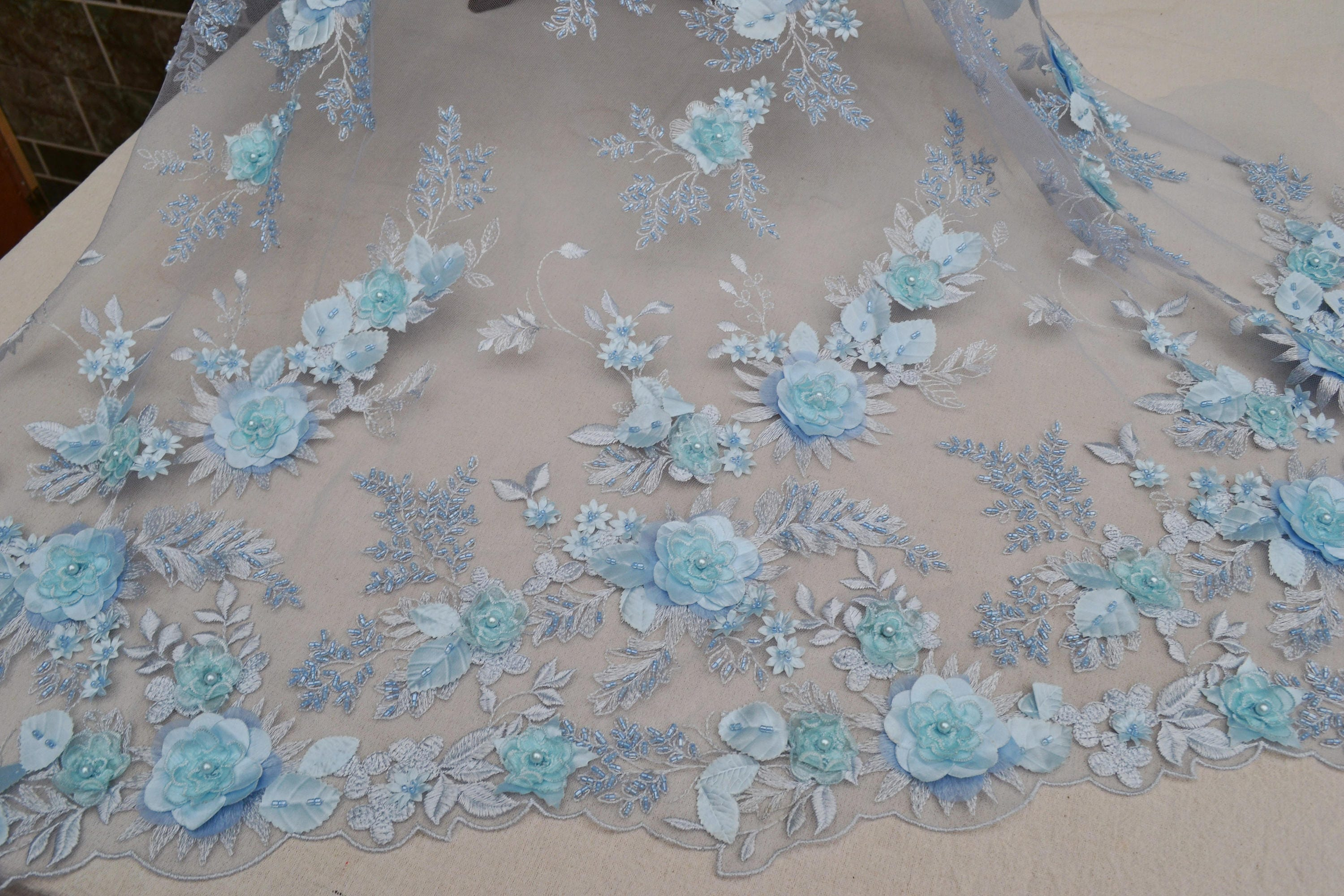 Blue 3D Floral Beaded Lace Fabric Bridal wedding dress Fabric ...