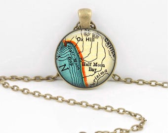 Half Moon Bay California SF Bay Area Vintage Map Geography Gift  Pendant Necklace or Key Ring