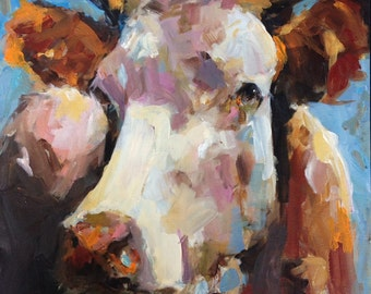 Cow Painting - Penny - Paper print of an original painting by Cari Humphry