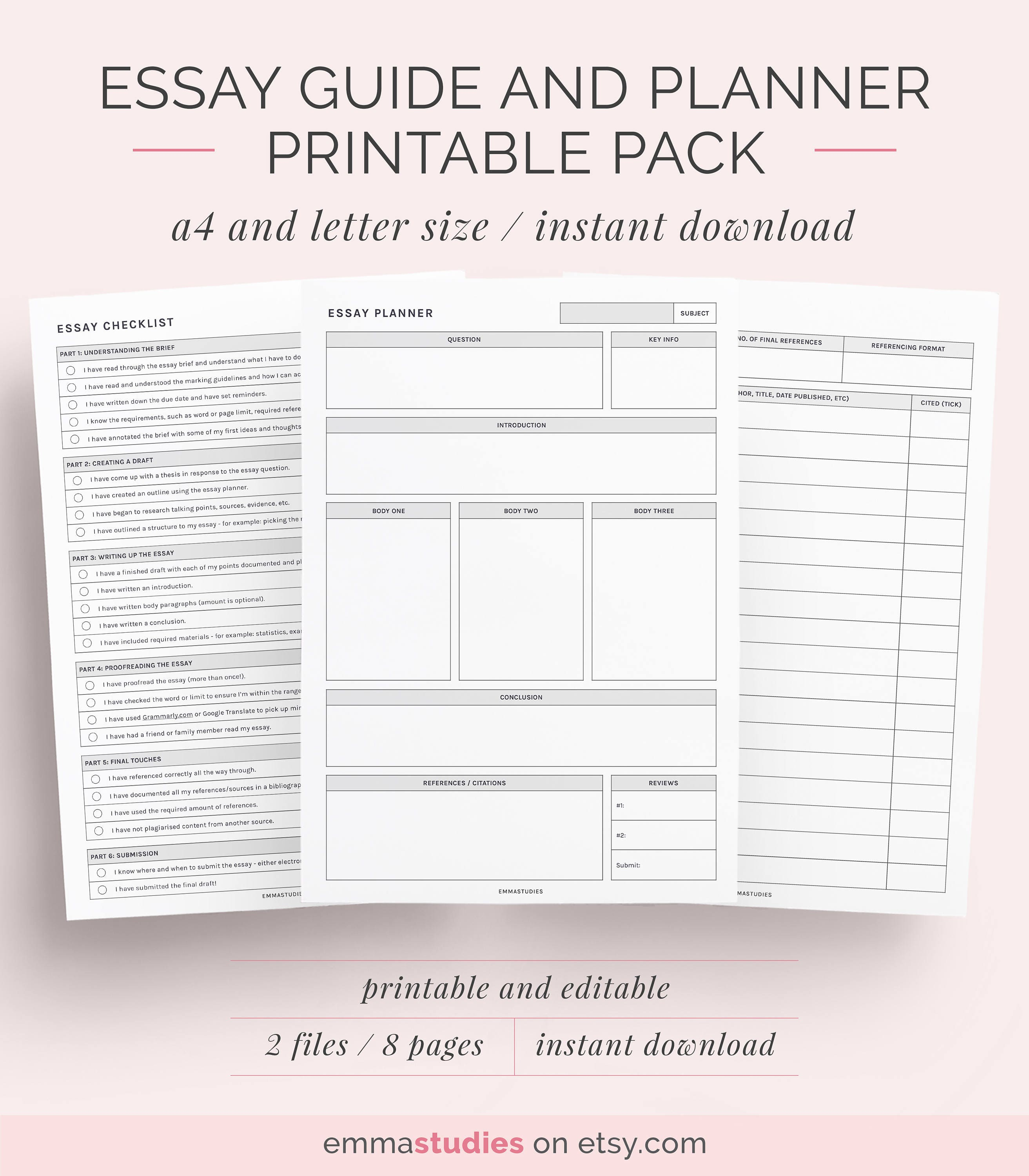 essay guide and planner printable pack school college 🔎zoom