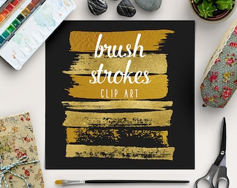 GOLD SMEAR | Brush Strokes Clipart | Gold Graphic Elements | Gold Foil Digital Clip Art | Goldy Splotches Overlay | BUY5FOR8