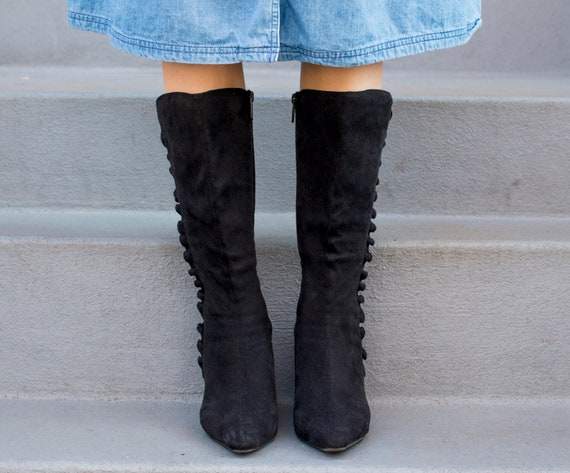 black 1908s boots leather suede 5 boots 80s boots heel vintage suede suede knee ruffled 7 boots black pointy toe high black low ZaPRqOg