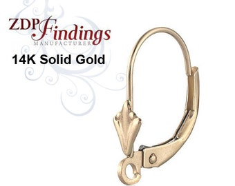 14K Yellow Solid Gold Lever-back Ear Wire & Open Ring,Component