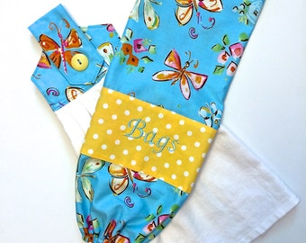 Plastic Bag Holder and Towel Set, Bag Keeper, Hanging Hand Towel, Blue and Yellow, Shower Gift, Mothers Day Gift,  by 8th Day Encore