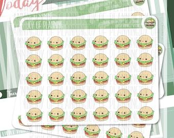 Breakfast planner stickers, lunch stickers, lunchbox stickers, sandwich stickers, burger stickers, dinner stickers