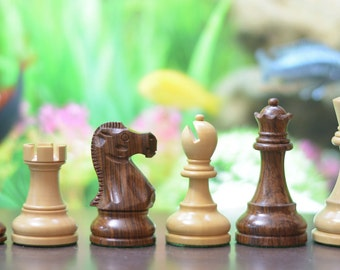 "The Reykjavik Staunton Series Weighted Chess Pieces in Sheesham & Box Wood - 3.7"" King.SKU: S1238"