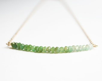 Green Necklace, Ombre Necklace, Green Stone Necklace, Delicate Necklace