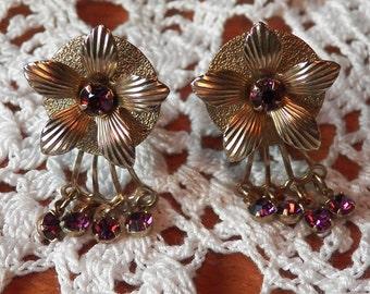 Dainty Vintage 'Amethyst' Rhinestone Clipback Earrings