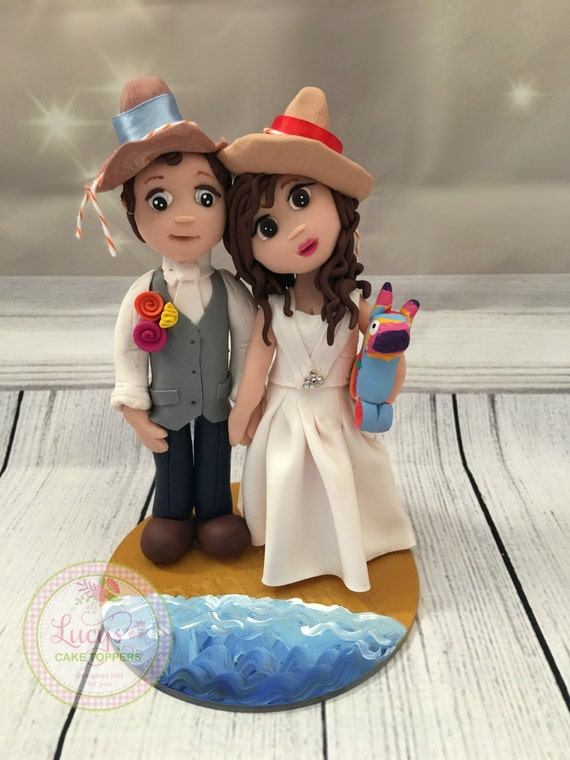 Beach Themed/ mexico Wedding cake Topper / fully sculpted - Fully Personalised a lovely keepsake