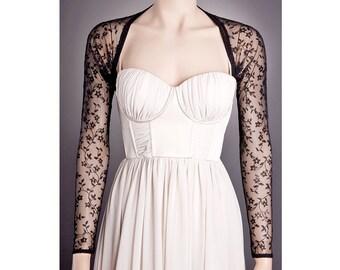 Floral BLACK Long Bolero avail. in 7 Laces Any Lenght, Long Sleeve Black Bolero, Black Lace Bolero, Sheer Black Bolero