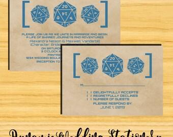 Grunge D20 Dice Gamer DIY Digital Printable Wedding Invite and RSVP Card