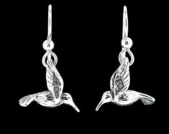 Hummingbird Earrings Silver - Hummingbird Jewelry - Small Hummingbird Earrings - Bird Earrings Bird Jewelry - Silver Hummingbird