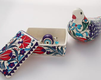 Figurine Handmade Turkish Ottoman Ceramic Statue Gorgeous Dove and Multipurpose Box