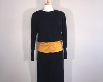 Vintage Chetta B  80s Dress,  Peter Noviello Dress, Sherrie Bloom Dress, Gathered Waist Dress, Black Wool Dress, 80s Wool Dress