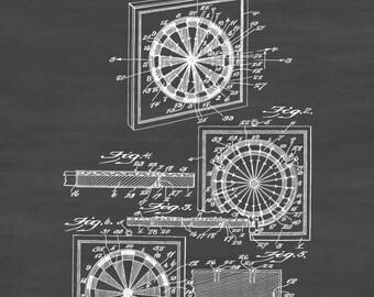 Dart Board Patent 1936 - Patent Print, Wall Decor, Game Art, Game Room Decor