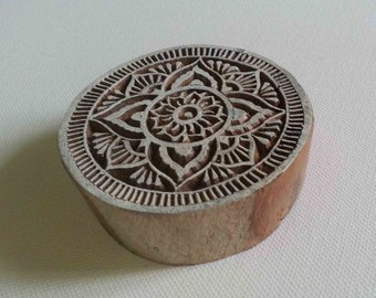 Round Floral Stamp - Wood Block Printing Stamp - Hand Carved - India - #3