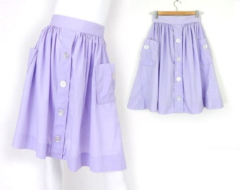 "Vintage 50s Lavender High Waisted Full Women's Skirt - Size 2 - Patch Pocket Purple Pastel Gothic Lolita Knee Length Skirt - 24"" Waist"