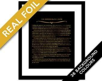 The Hippocratic Oath Gold Foil Art Print - Hippocrates Medical Quote Poster - Doctor Medical Student Gift - Inspirational Art - Graduation