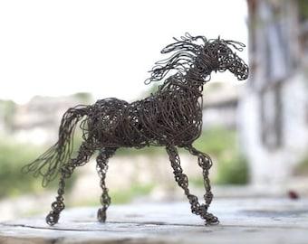 Birthday Gift, Horse Gift, Horse Sculpture, Horse Art, Wire Art, Wire Animal Sculpture, Horse Decor, Horse Home Decor, Horse Figurine