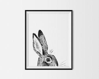 Rabbit Print, Black & White Rabbit 11x14 Art Print