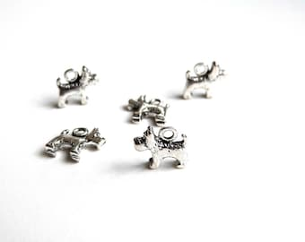 5 charm dog scottish terrier silver-plated 13x12mm